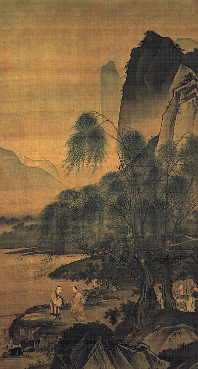 """Dai Jin Dropping a Fishing Line on the Bank of the Wei River"", Early Ming Dynasty (1368–1644), hanging scroll, color on silk, Height: 139.6 cm (54.9 in); Width: 75.4 cm (29.6 in),National Palace Museum, Taipei,  This painting is based on the story that the King Wen of Zhou went out to the Wei River to the remote home of Jiang Ziya in order to convince him to help the Zhou government"